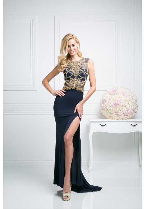 Beaded Sleeveless Gown with Leg Slit