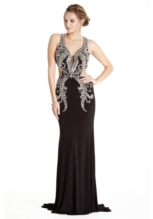 Embellished Jersey Open Back Gown