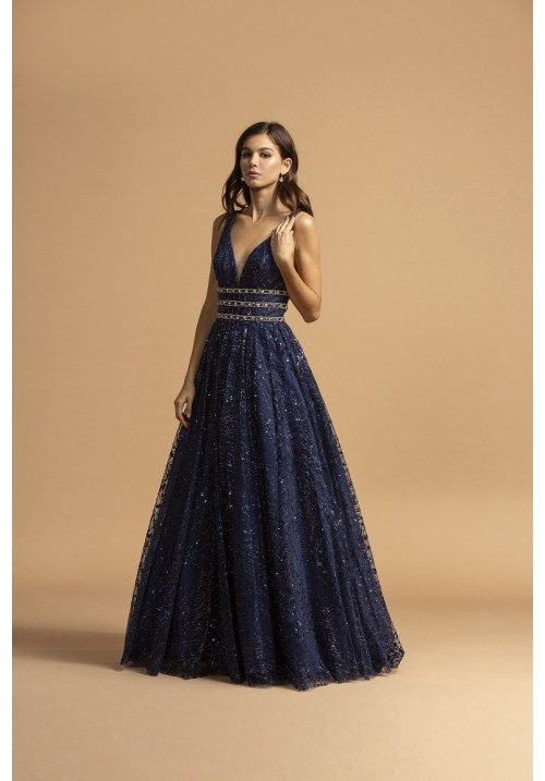 Dazzling Ball Gown with Ribbed Beading