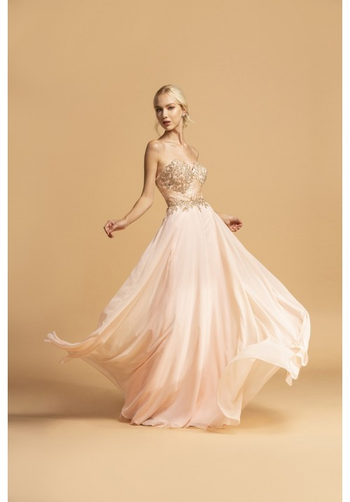 Strapless Classic Long Gown with Embellishments