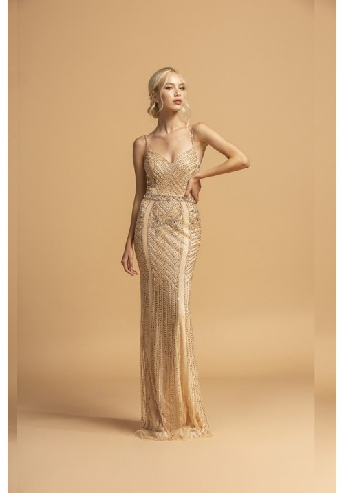 Vintage Inspired Beaded Fitted Long Gown