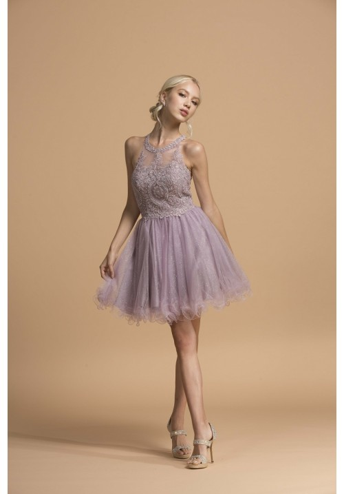 Embellished Top with Glitter Tulle Short Gown