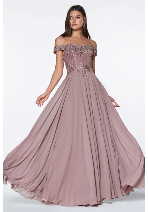 Off Shoulder Beaded Chiffon Long Gown