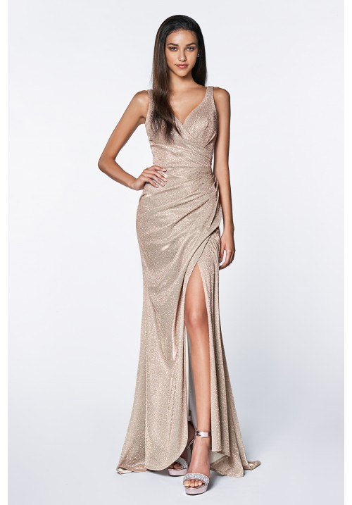 Fitted Sparkle Wrap Gown with Leg Slit