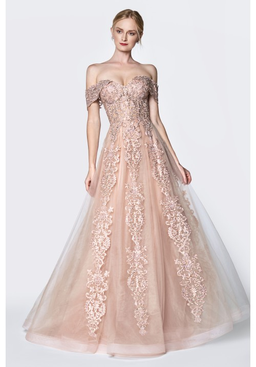 Off-Shoulder Embellished Lace Gown