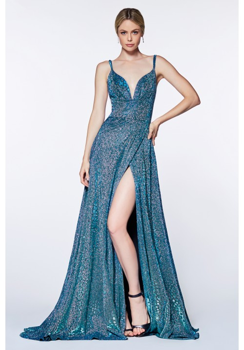 Slit Gown with Glitter Fabric