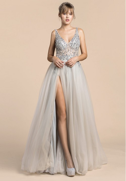 TRICKLE BEAD SOFT BALL GOWN
