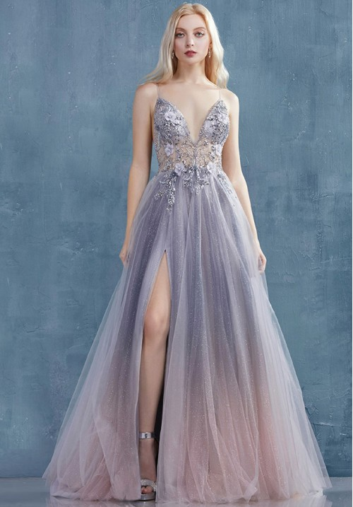 Flower Beaded Ombré Long Gown