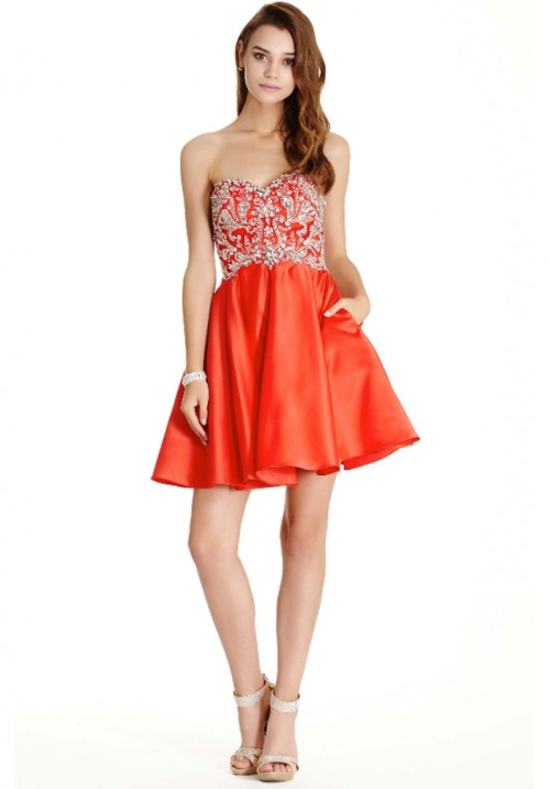 Beaded Sweetheart Short Gown