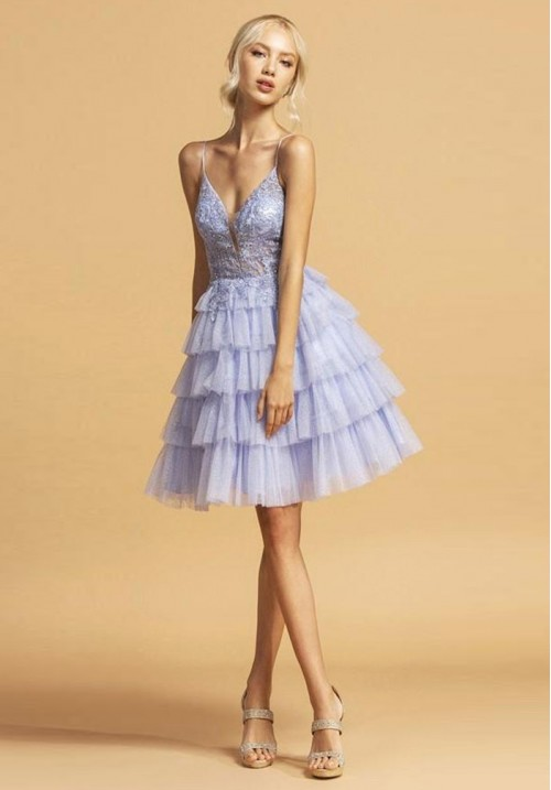 Layered Tulle Short Gown