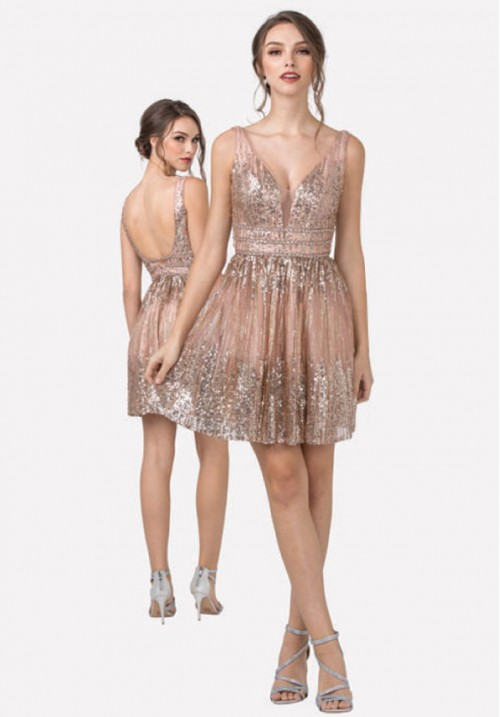 Sequin Embellished Short Gown