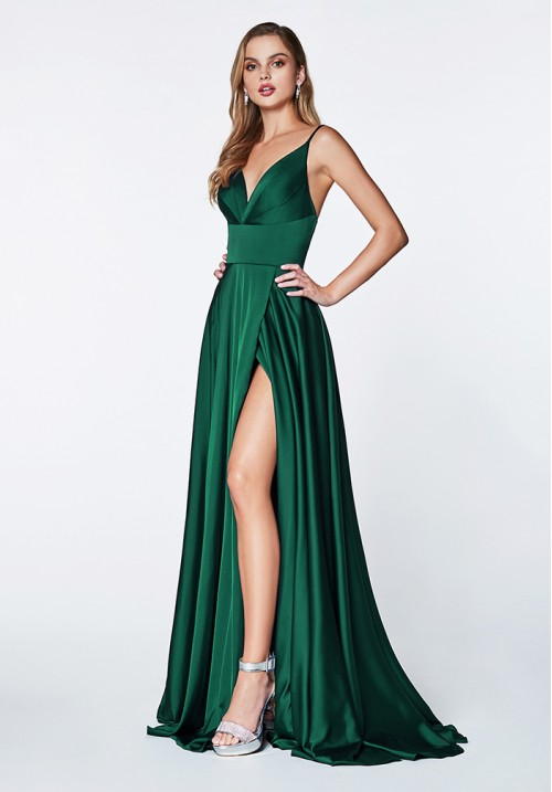 V-Neck Satin Long Gown