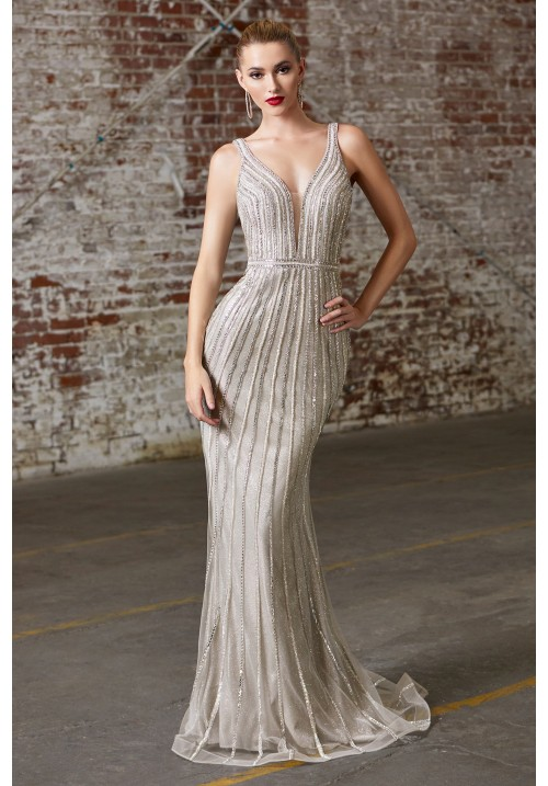Bead Embellished Long Gown
