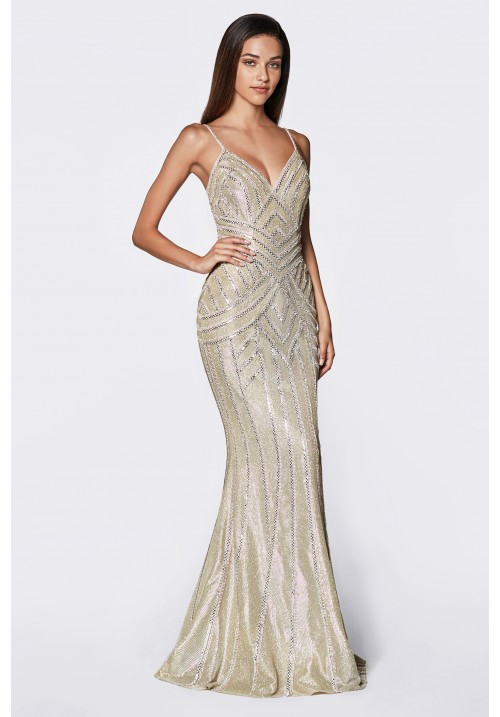 Fitted Beaded Metallic Glitter Gown