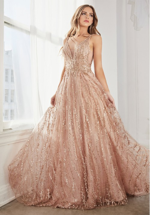 Sequin Embellished A-Line Long Gown