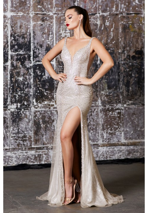 Bead Embellish Long Gown