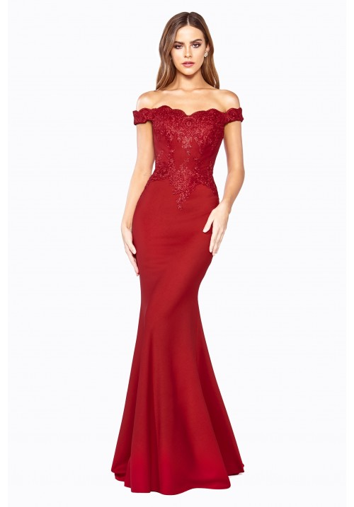 Off Shoulder Fitted Long Gown