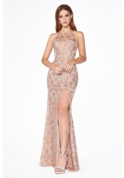 Illusion Neckline Long Gown