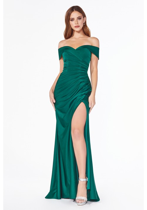 Off Shoulder Satin Long Gown KV1050