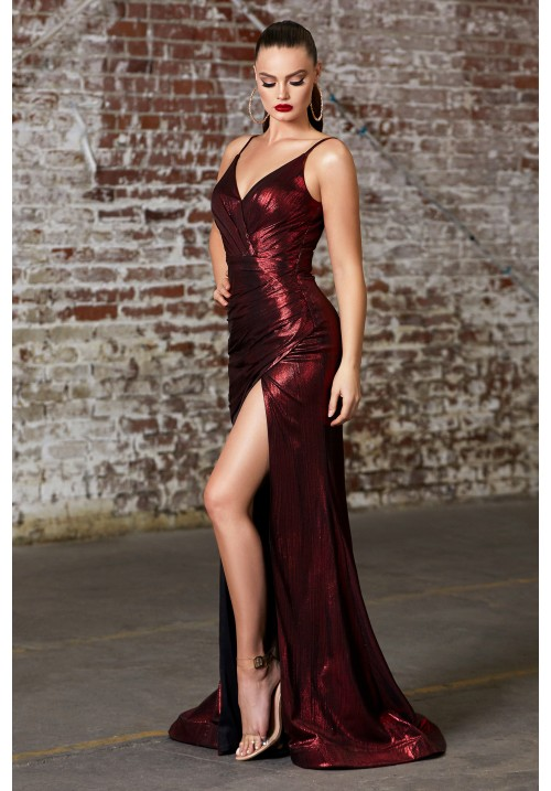 Shiny Metallic Long Gown