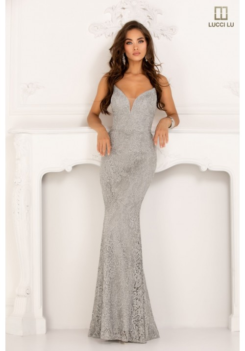 Lace Embellished Long Gown 1091