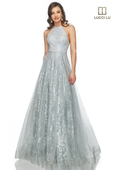Sequin Embellished Long Gown 28801