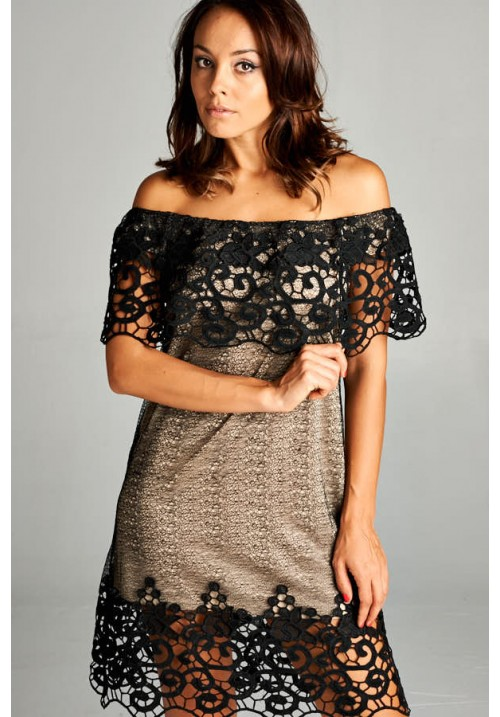 Lace Off Shoulder Fitted Dress