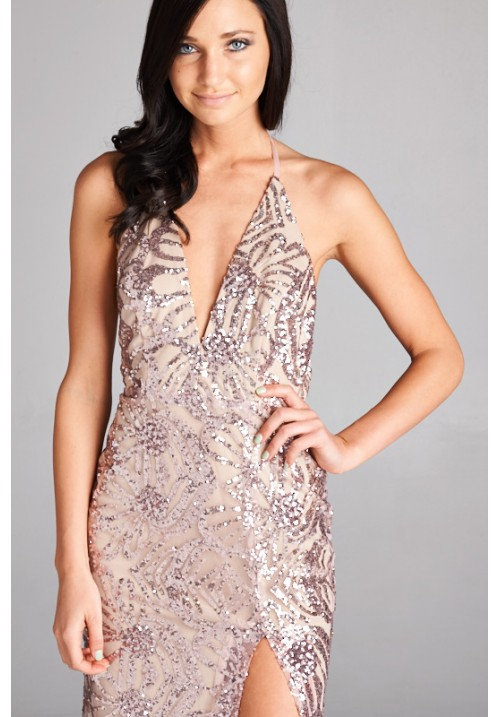 Open Back Sequin Maxi Side Slit Dress