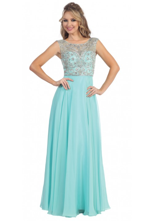 Illusion Neck Chiffon Gown