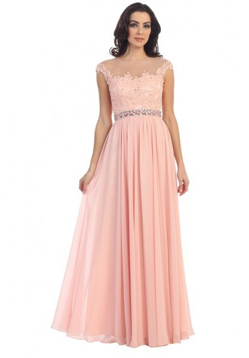 Beaded Lace Chiffon Long Gown