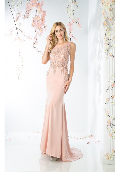 Beaded Pearl Long Gown