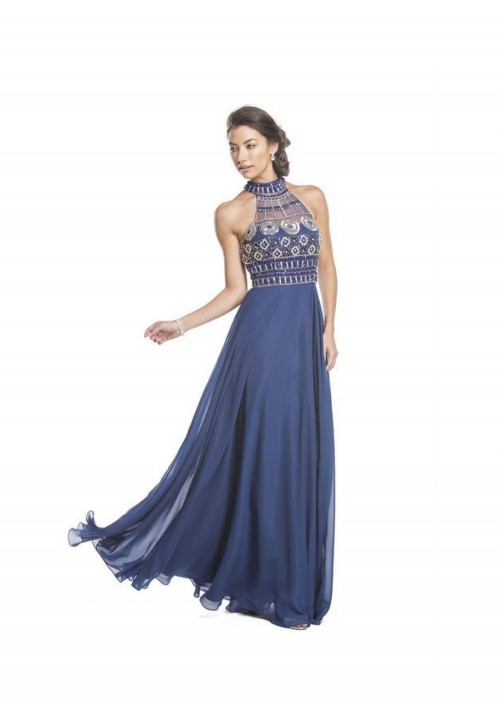 High Neck Chiffon Gown
