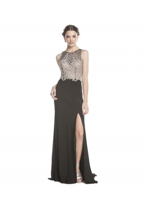 Beaded Gown with Leg Slit