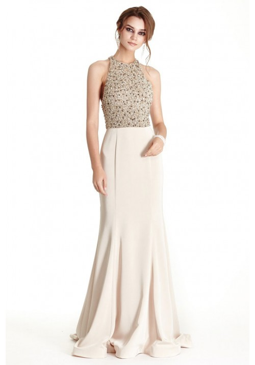 Beaded Halter Sheath Long Gown