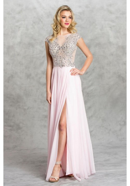 Illusion Beaded Long Gown with Leg Slit