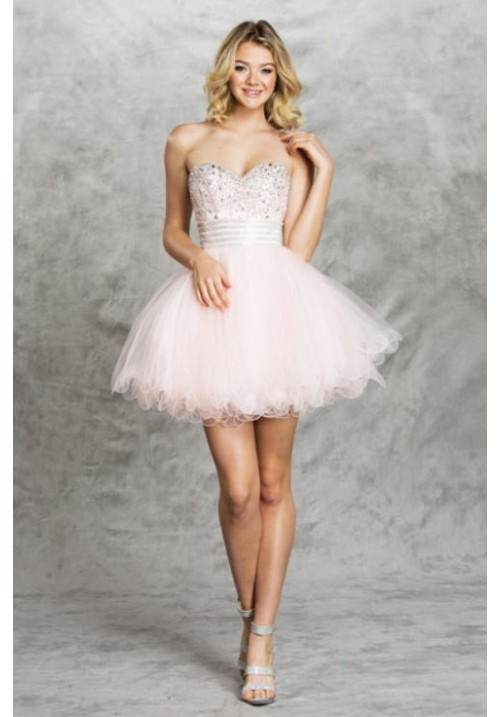 Short Sweetheart Sparkling Gown