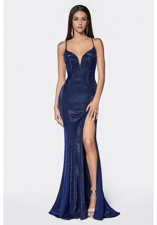 Metallic V Neck Slit Long Gown