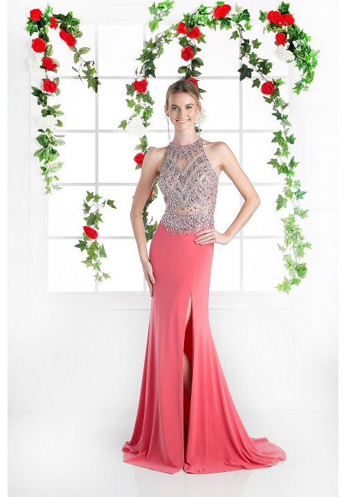 Beaded Halter Long Gown with Leg Slit