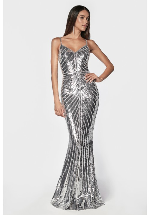 Shiny Sequin Fitted Long Dress