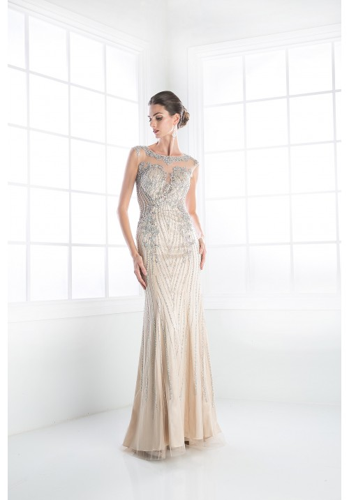 Beaded Sheath Long Dress