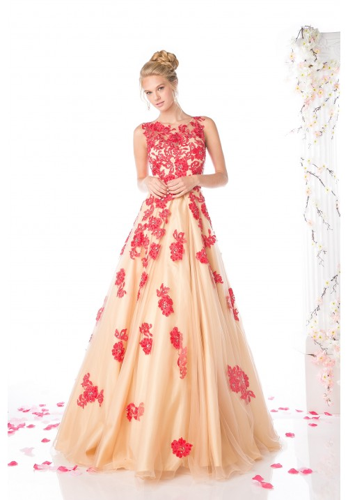 Flowery A-Line Gown