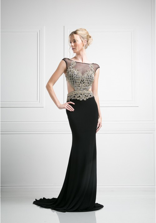 Beaded Illusion Short Sleeve Gown