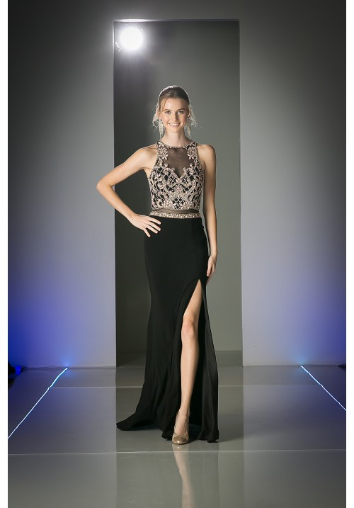 Sleeveless Long Gown with Leg Slit