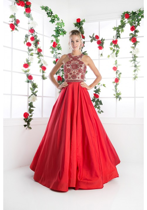 Beaded Halter Long Gown