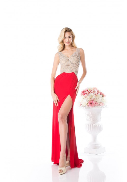 Gown with Leg Slit and Shear Back