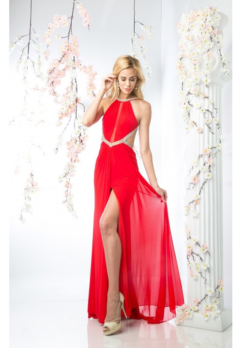Backless Dress with Leg Slit