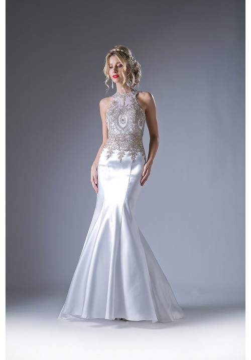 A Mermaid Embroidery Stretchy Taffeta Gown