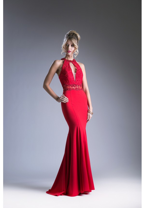 Lace Halter Top Prom Dress