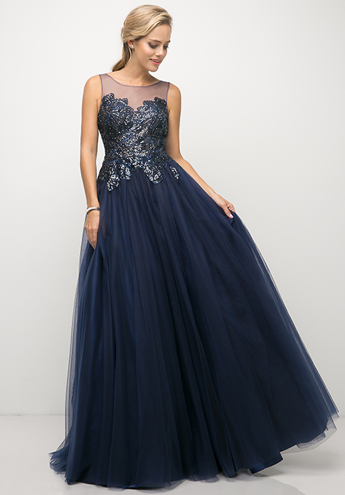 Illusion Neckline Sparkly Top Gown