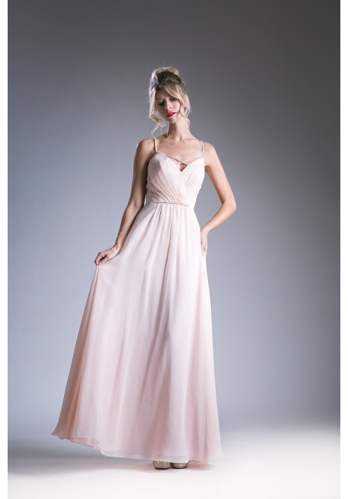 Beaded Cross Strap Long Gown With Pleated